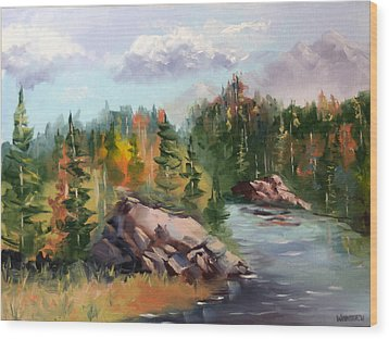 Forest River Landscape Oil Painting By Artist Mark Webster. Wood Print