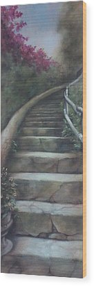 Forest Stairway Up  Wood Print
