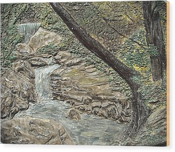 Forest Waterfall Wood Print by Doris Lindsey