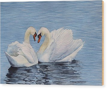 Forever Swans Wood Print by Sharon Farber
