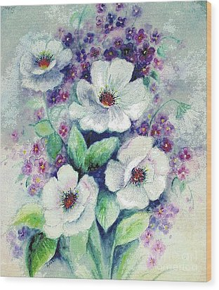 Wood Print featuring the painting Forget-me-knots And Roses by Hazel Holland