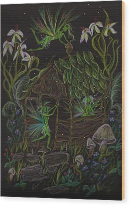 Wood Print featuring the drawing Forgetmenots by Dawn Fairies