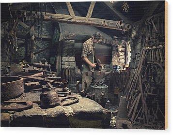 Forging Metal Wood Print by Stewart Scott