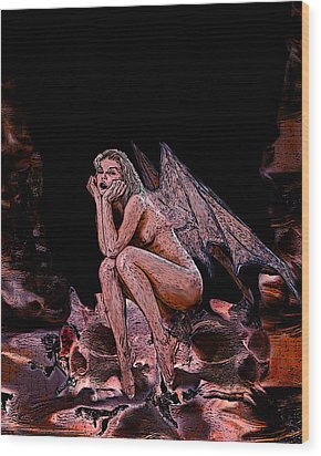 Forgotten Angel Wood Print by Tbone Oliver