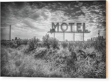 Wood Print featuring the photograph Forgotten Motel Sign by Spencer McDonald