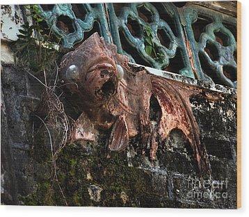 Forgotten Please Restore Me Goldfish Wood Print by Kathy Daxon