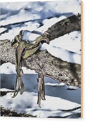 Forgotten Saddle Wood Print by Nicki McManus