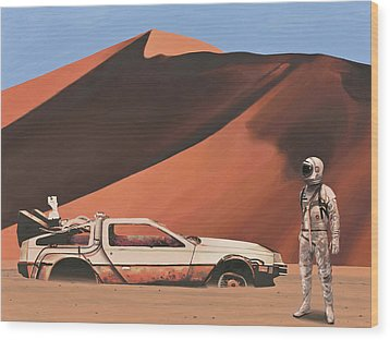 Wood Print featuring the painting Forgotten Time Machine by Scott Listfield