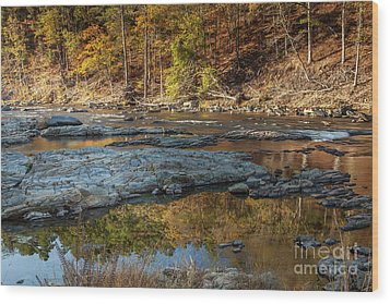 Wood Print featuring the photograph Fork River Reflection In Fall by Iris Greenwell
