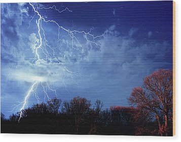 Forked Lightning Wood Print