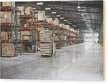 Forklift Moving Product In A Warehouse Wood Print by Jetta Productions, Inc