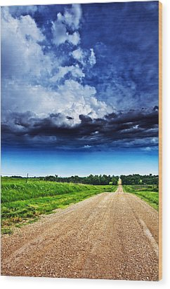 Forming Clouds Over Gravel Wood Print