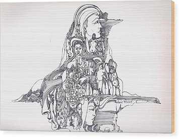 Wood Print featuring the drawing Forms In The Head by Padamvir Singh