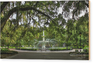 Forsyth Park Fountain Historic Savannah Georgia Wood Print by Reid Callaway