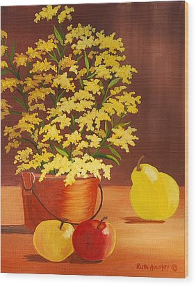 Forsythia Flowers And Fruit Sold Wood Print by Ruth  Housley