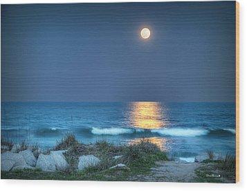 Fort Fisher Moonbeam Wood Print
