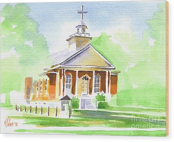 Wood Print featuring the painting Fort Hill Methodist Church 2 by Kip DeVore