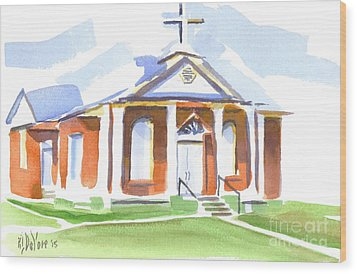 Wood Print featuring the painting Fort Hill Methodist Church by Kip DeVore