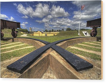 Fort Moultrie Cannon Tracks Wood Print by Dustin K Ryan
