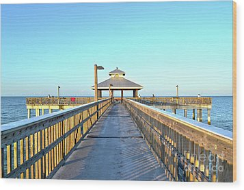 Wood Print featuring the photograph Fort Myers Beach Florida Fishing Pier by Timothy Lowry