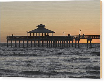 Fort Myers Beach Pier Sunset Wood Print