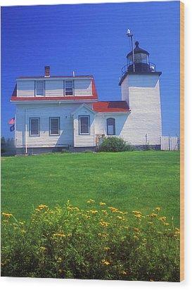 Fort Point Lighthouse Stockton Springs Wood Print by John Burk