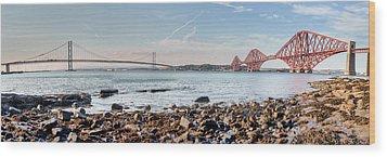 Forth Bridges Panorama Wood Print