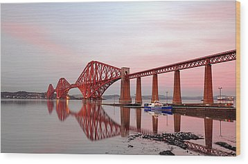 Wood Print featuring the photograph Forth Railway Bridge Sunset by Grant Glendinning