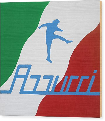 Forza Azzurri Wood Print by Oliver Johnston