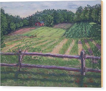 Fosterfields Farm Wood Print by Laurie Paci