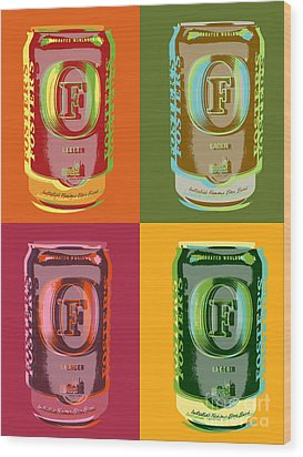 Wood Print featuring the digital art Foster's Lager Pop Art by Jean luc Comperat