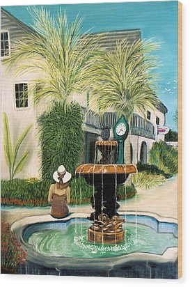 Wood Print featuring the pastel Fountain At St. Augustine by Jan Amiss