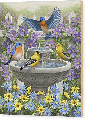 Fountain Festivities - Birds And Birdbath Painting Wood Print by Crista Forest