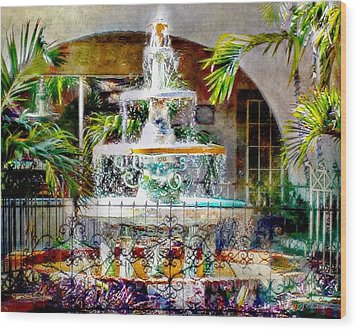 Fountain Of Water Wood Print by Barbara Chichester