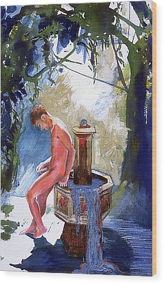 Fountain Wood Print by Rene Capone