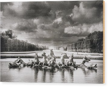 Fountain With Sea Gods At The Palace Of Versailles In Paris Wood Print by Simon Marsden