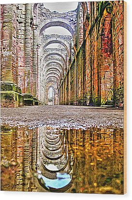 Wood Print featuring the photograph Fountains Abbey by Gouzel -