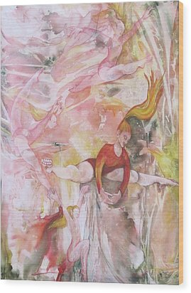 Four Acrobats Wood Print by Georgia Annwell