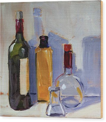 Wood Print featuring the painting Four Bottles by Nancy Merkle