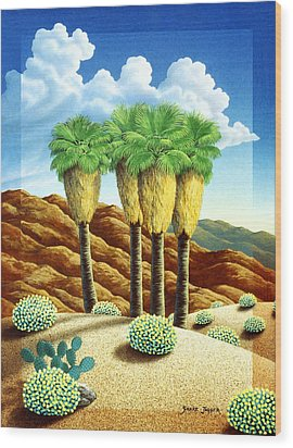Four Bunch Palms Wood Print by Snake Jagger