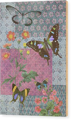 Four Butterfly Patch Blue Wood Print by JQ Licensing