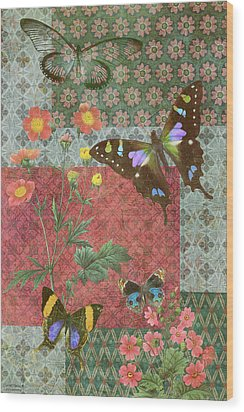Four Butterfly Patch Green Wood Print by JQ Licensing