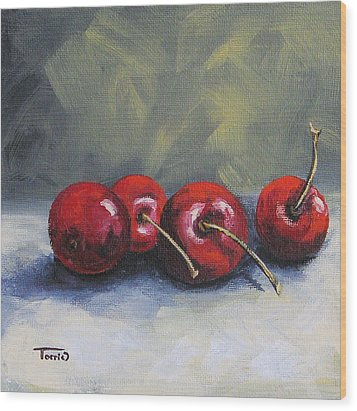 Four Cherries Wood Print