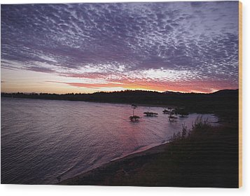 Wood Print featuring the photograph Four Elements Sunset Sequence 6 Coconuts Qld  by Kerryn Madsen-Pietsch