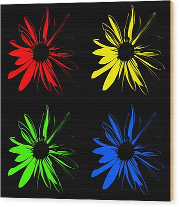 Wood Print featuring the photograph Four Flowers by Maggy Marsh