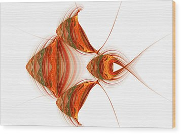 Wood Print featuring the digital art Four Fractal Fishies by Richard Ortolano