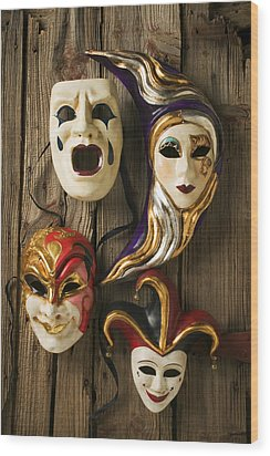 Four Masks Wood Print by Garry Gay