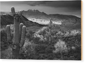 Four Peaks Az Sunset Wood Print