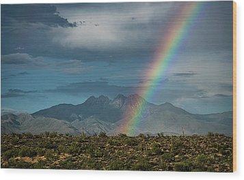 Wood Print featuring the photograph Four Peaks Rainbow  by Saija Lehtonen