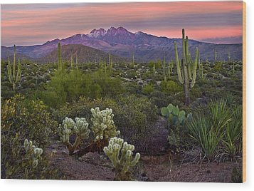 Four Peaks Sunset Wood Print by Dave Dilli